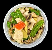 picture of gai  - Moo Goo Gai Pan in a bowl on a black background - JPG