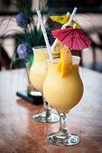 foto of fruit shake  - fresh fruit mango shake in glass  - JPG