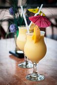 picture of fruit shake  - fresh fruit mango shake in glass  - JPG