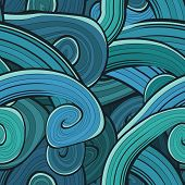 stock photo of green-blue  - Seamless abstract hand drawn waves pattern - JPG