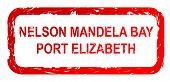 foto of nelson mandela  - Used red Nelson Mandela Bay and Port Elizabeth city travel passport stamp isolated on white background - JPG