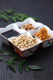foto of soybeans  - group shot of Japaneese traditional soybean processed foods Natto - JPG