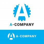 foto of cogwheel  - Vector modern minimalistic blue A letter logotype - JPG
