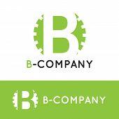 picture of cogwheel  - Vector modern minimalistic green B letter logotype - JPG