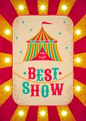 pic of tent  - Vector retro circus poster with color tent - JPG