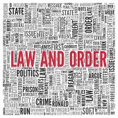 picture of law order  - Close up Red LAW AND ORDER Text at the Center of Word Tag Cloud on White Background - JPG