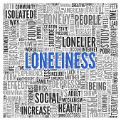 foto of loneliness  - Close up Blue LONELINESS Text at the Center of Word Tag Cloud on White Background - JPG