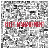 image of fleet  - Close up FLEET MANAGEMENT Text at the Center of Word Tag Cloud on White Background - JPG