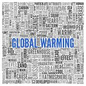 image of global-warming  - Close up GLOBAL WARMING Text at the Center of Word Tag Cloud on White Background - JPG
