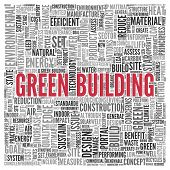 stock photo of text cloud  - Close up GREEN BUILDING Text at the Center of Word Tag Cloud on White Background - JPG