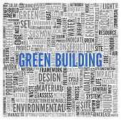 foto of text cloud  - Close up GREEN BUILDING Text at the Center of Word Tag Cloud on White Background - JPG