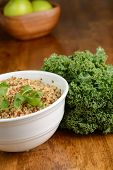 stock photo of kale  - A bowl of quinoa with fresh kale - JPG