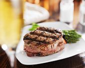 picture of white asparagus  - grilled steak filet with white wine and asparagus - JPG