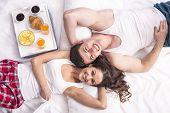 stock photo of bed breakfast  - Top view - JPG