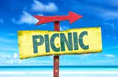 foto of nic  - Picnic sign with beach background - JPG