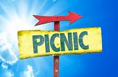 stock photo of nic  - Picnic sign with sky background - JPG