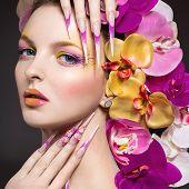 stock photo of long nails  - Beautiful woman with long nails - JPG