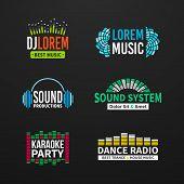 image of equality  - Sound music equalizer emblem elements set separated - JPG
