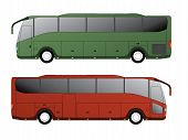 image of motor-bus  - Tourist bus design with single axle in the back side view - JPG