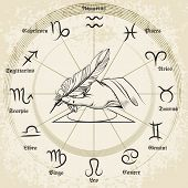 stock photo of pisces  - Hand drawn zodiac icons set - JPG