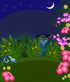 stock photo of jungle snake  - Illustration of black panthers behind leaves in jungle at night - JPG