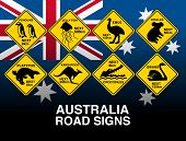 picture of platypus  - Australian yellow road warning signs with flag  - JPG