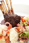 picture of lamb  - Roasted Lamb Chops with Risotto and Vegetables - JPG