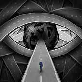 foto of metaphor  - Recruitment visionary road and business recruiting concept as a businessman walking on a straight path into a group of streets shaped as a human eye as a success metaphor for searching for new career opportunities - JPG