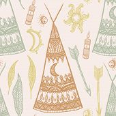 pic of bohemian  - A colorful hand drawn bohemian pattern with teepees - JPG
