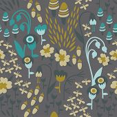 stock photo of acorn  - A seamless floral woodland pattern in earthy tones with mushrooms - JPG