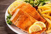 stock photo of salmon steak  - Fried salmon and vegetables - JPG