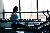 Постер, плакат: Side view portrait of a beautiful woman working out on simulator at gym