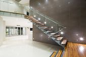 picture of mansion  - Contemporary new empty mansion with wooden staircase - JPG