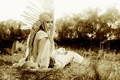 foto of indian beautiful people  - Fashion shot of a beautiful girl in style of the American Indians - JPG