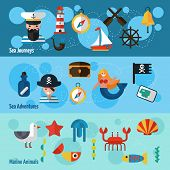 picture of nautical equipment  - Nautical horizontal banners set with sea adventures and marine animals elements isolated vector illustration - JPG