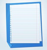 image of lined-paper  - Lined exercise sheets and sheet of blue paper with crumpled edges - JPG