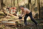 stock photo of ax  - Strong caucasian shirtless woodcutter splitting wood in the forest with an ax - JPG