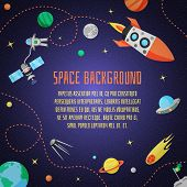 image of spaceships  - Space cartoon background with rocket spaceship stars and planet vector illustration - JPG