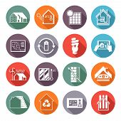 stock photo of ventilator  - Energy saving house temperature and ventilation monitoring flat icons set isolated vector illustration - JPG