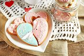 pic of teapot  - Heart shaped cookies for valentines day and teapot on  wooden background - JPG