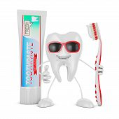 pic of toothpaste  - Smiling tooth with glasses holding a toothbrush near the a tube of toothpaste - JPG
