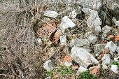 pic of environmental pollution  - construction and demolition debris near the forest - JPG