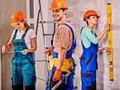 picture of millwright  - Happy group people in builder uniform indoor - JPG