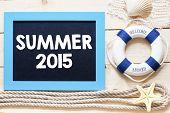 picture of starfish  - Summer 2015 Text written on blackboard with starfish - JPG
