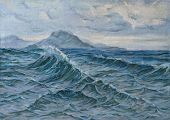 foto of canvas  - the oil on canvas of a seascape - JPG
