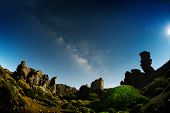 foto of planetarium  - night sky with milky way on teide crater - JPG