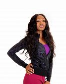 pic of tights  - A lovely tall young African American woman in pink tights and long curly black hair standing isolated for white background - JPG