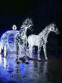 picture of carriage horse  - Decorative carriage with horses decorated with lights - JPG