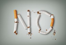 pic of tobacco smoke  - No word written with broken cigarette concept for quitting smoking - JPG