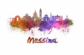image of messina  - Messina skyline in watercolor splatters with clipping path - JPG